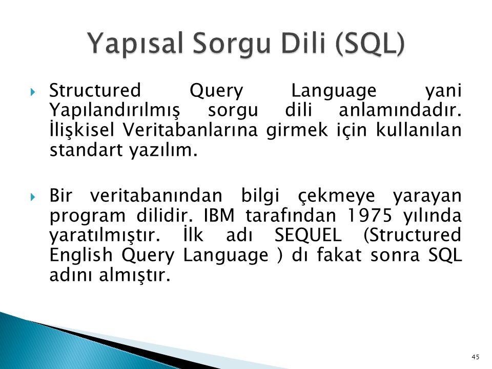 Structured Query Language yani Yapılandırılmış sorgu dili anlamındadır. İlişkisel Veritabanlarına girmek için kullanılan standart yazılım.  Bir ver