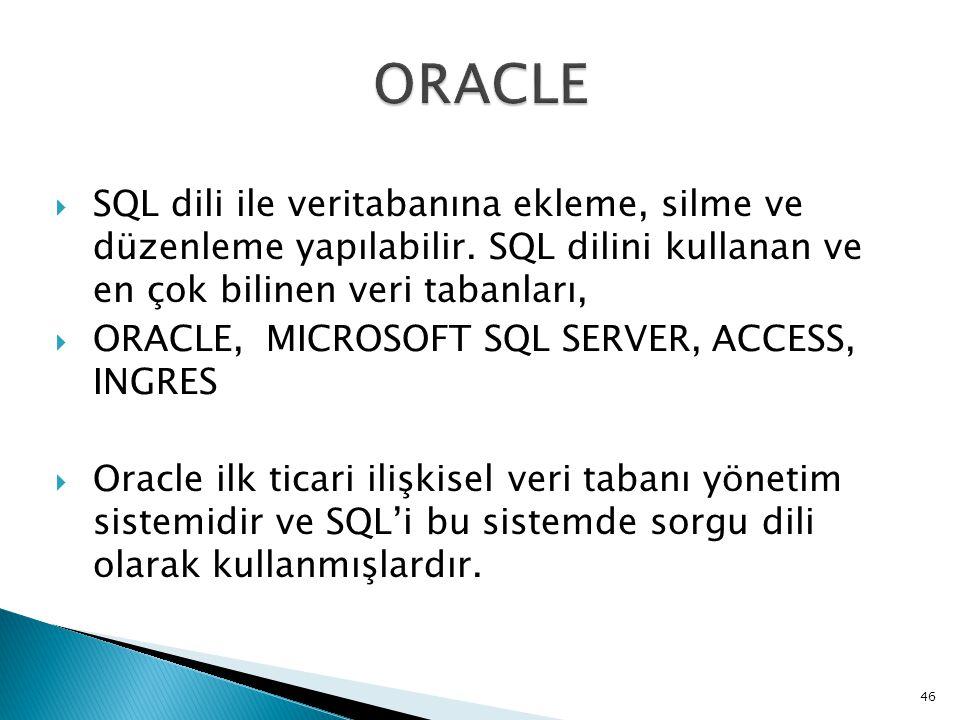  SQL dili ile veritabanına ekleme, silme ve düzenleme yapılabilir. SQL dilini kullanan ve en çok bilinen veri tabanları,  ORACLE, MICROSOFT SQL SERV