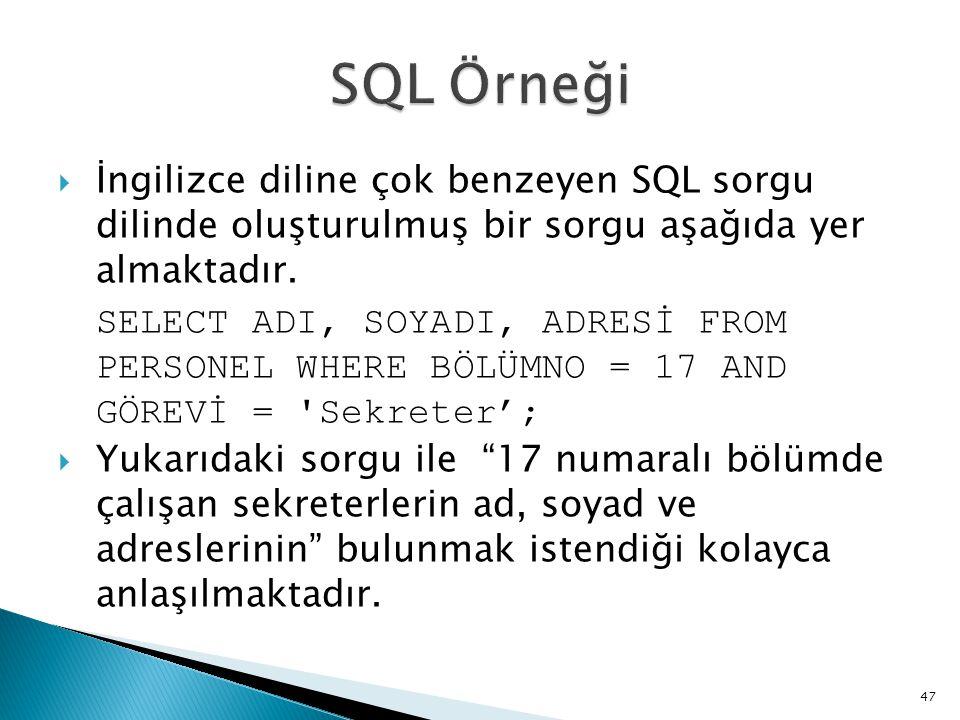  İngilizce diline çok benzeyen SQL sorgu dilinde oluşturulmuş bir sorgu aşağıda yer almaktadır. SELECT ADI, SOYADI, ADRESİ FROM PERSONEL WHERE BÖLÜMN