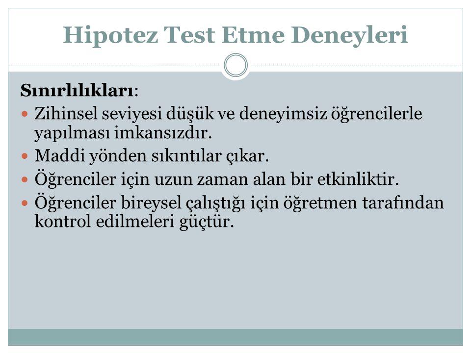 Hipotez Test Etme Deneyleri Sınırlılıkları: Zihinsel seviyesi düşük ve deneyimsiz öğrencilerle yapılması imkansızdır.