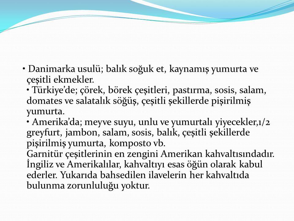 Danimarka usulü; balık soğuk et, kaynamış yumurta ve çeşitli ekmekler. Türkiye'de; çörek, börek çeşitleri, pastırma, sosis, salam, domates ve salatalı