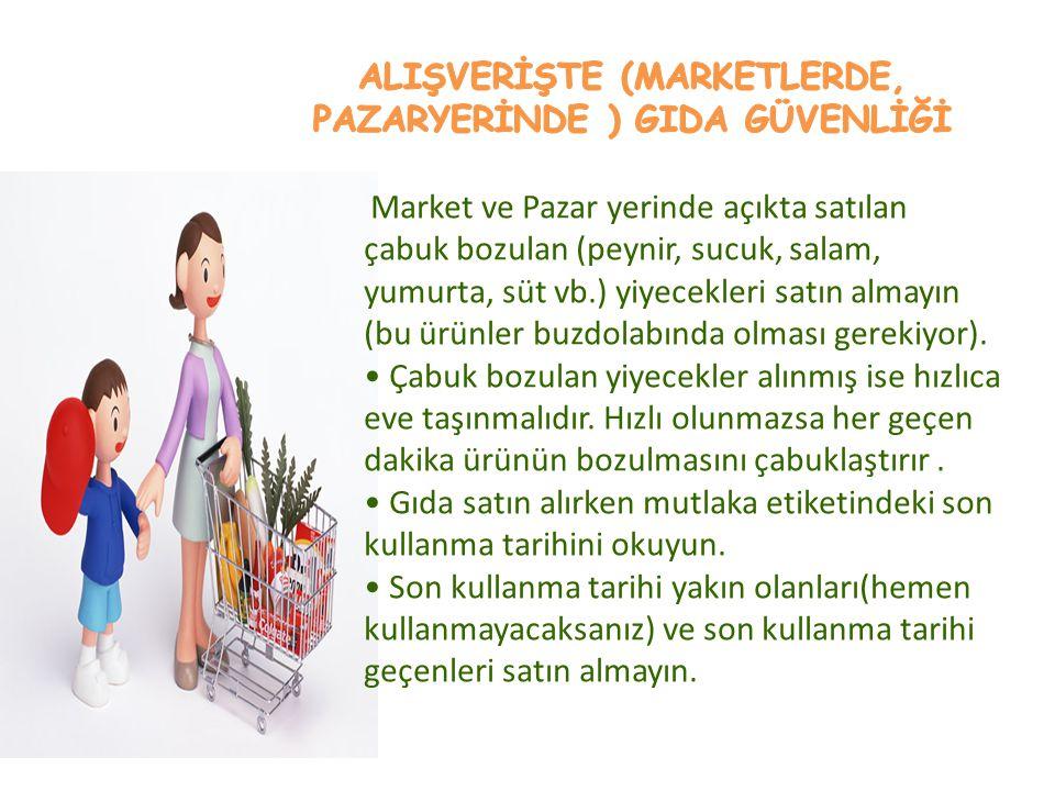 Market ve Pazar yerinde açıkta satılan çabuk bozulan (peynir, sucuk, salam, yumurta, süt vb.) yiyecekleri satın almayın (bu ürünler buzdolabında olmas