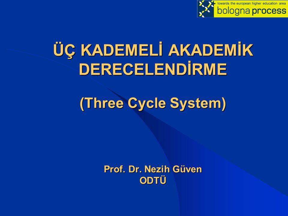 ÜÇ KADEMELİ AKADEMİK DERECELENDİRME (Three Cycle System) Prof. Dr. Nezih Güven ODTÜ