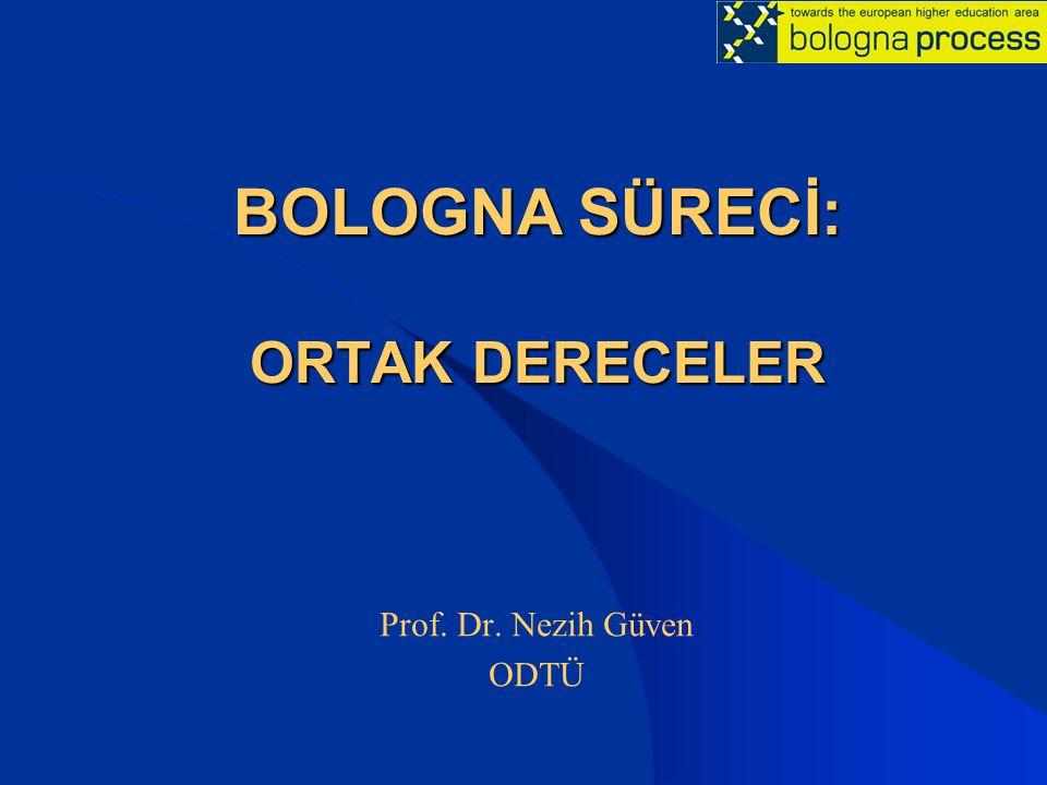 BOLOGNA SÜRECİ: ORTAK DERECELER Prof. Dr. Nezih Güven ODTÜ