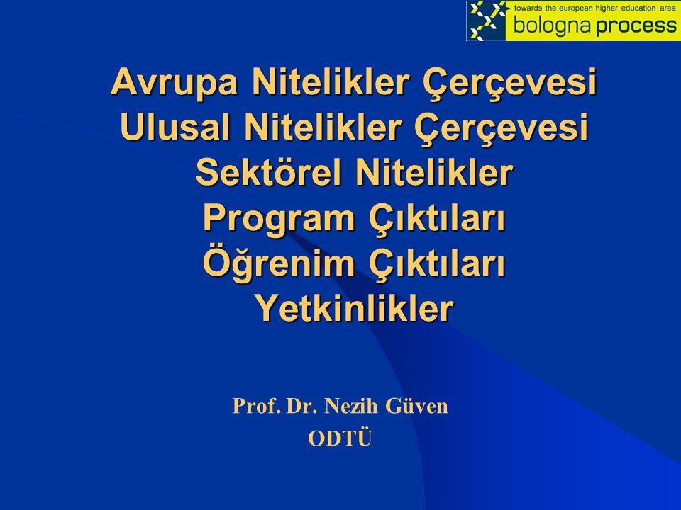 Avrupa Nitelikler Çerçevesi Ulusal Nitelikler Çerçevesi Sektörel Nitelikler Program Çıktıları Öğrenim Çıktıları Yetkinlikler Prof.
