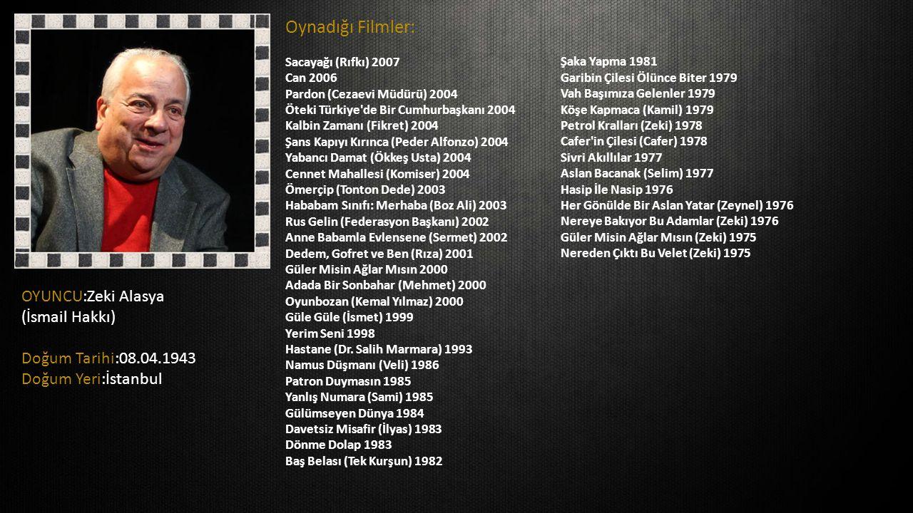 OYUNCU:Zeki Alasya (İsmail Hakkı) Doğum Tarihi:08.04.1943 Doğum Yeri:İstanbul Oynadığı Filmler: Sacayağı (Rıfkı) 2007 Can 2006 Pardon (Cezaevi Müdürü)