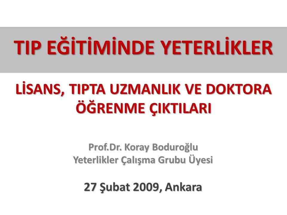 TIP EĞİTİMİNDE YETERLİKLER LİSANS, TIPTA UZMANLIK VE DOKTORA ÖĞRENME ÇIKTILARI Prof.Dr. Koray Boduroğlu Yeterlikler Çalışma Grubu Üyesi 27 Şubat 2009,