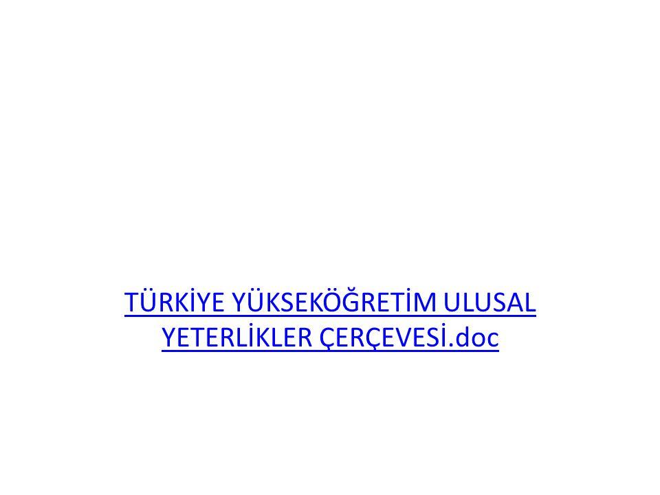 TÜRKİYE YÜKSEKÖĞRETİM ULUSAL YETERLİKLER ÇERÇEVESİ.doc