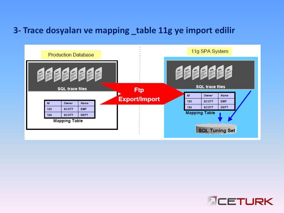 3- Trace dosyaları ve mapping _table 11g ye import edilir