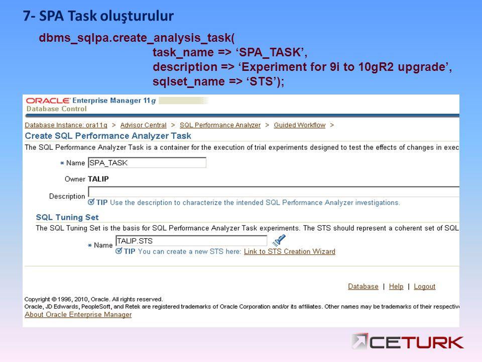 7- SPA Task oluşturulur dbms_sqlpa.create_analysis_task( task_name => 'SPA_TASK', description => 'Experiment for 9i to 10gR2 upgrade', sqlset_name =>