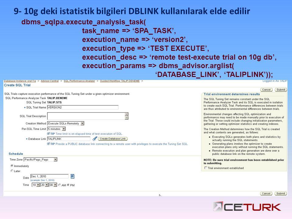 dbms_sqlpa.execute_analysis_task( task_name => 'SPA_TASK', execution_name => 'version2', execution_type => 'TEST EXECUTE', execution_desc => 'remote test-execute trial on 10g db', execution_params => dbms_advisor.arglist( 'DATABASE_LINK', 'TALIPLINK')); 9- 10g deki istatistik bilgileri DBLINK kullanılarak elde edilir