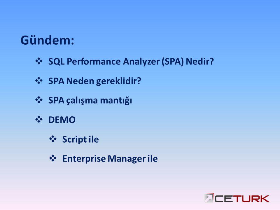 Gündem:  SQL Performance Analyzer (SPA) Nedir?  SPA Neden gereklidir?  SPA çalışma mantığı  DEMO  Script ile  Enterprise Manager ile