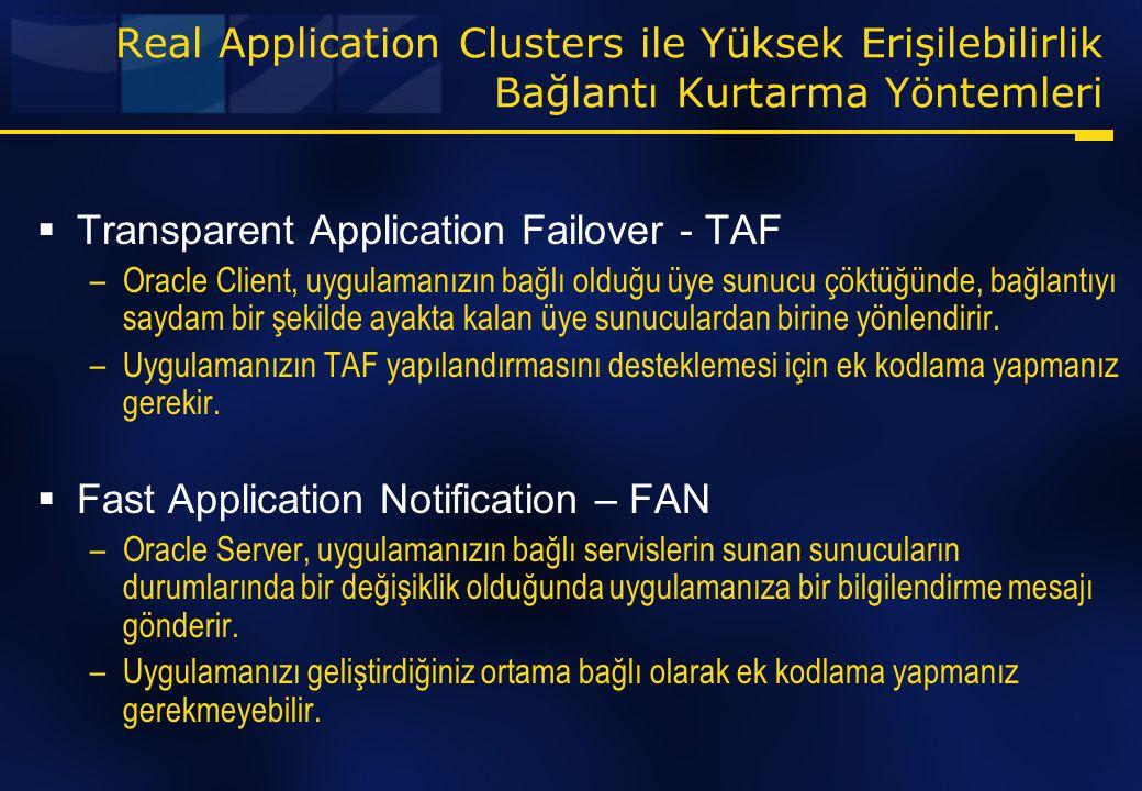 Real Application Clusters ile Yüksek Erişilebilirlik Bağlantı Kurtarma Yöntemleri  Transparent Application Failover - TAF –Oracle Client, uygulamanız