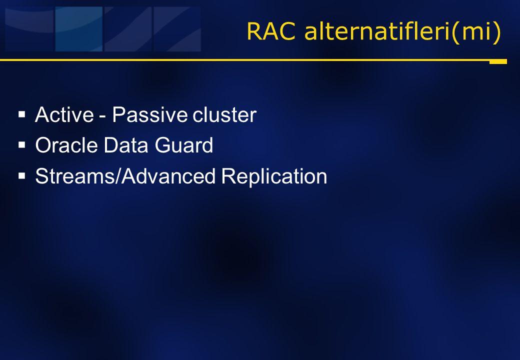 RAC alternatifleri(mi)  Active - Passive cluster  Oracle Data Guard  Streams/Advanced Replication