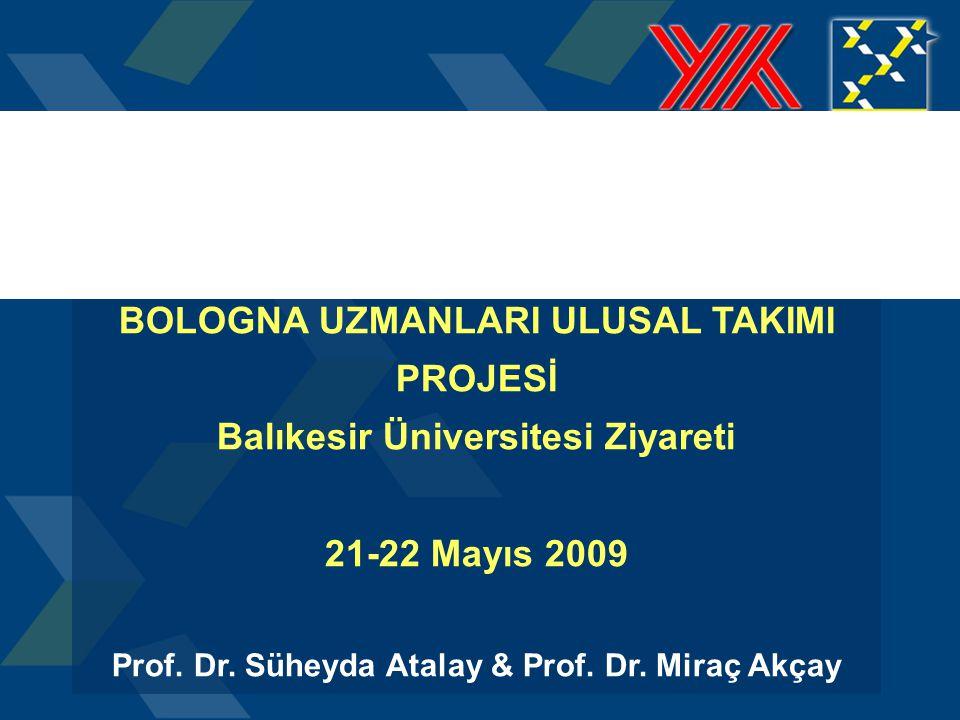 T.C. Yükseköğretim Kurulu BOLOGNA UZMANLARI ULUSAL TAKIMI PROJESİ Balıkesir Üniversitesi Ziyareti 21-22 Mayıs 2009 Prof. Dr. Süheyda Atalay & Prof. Dr