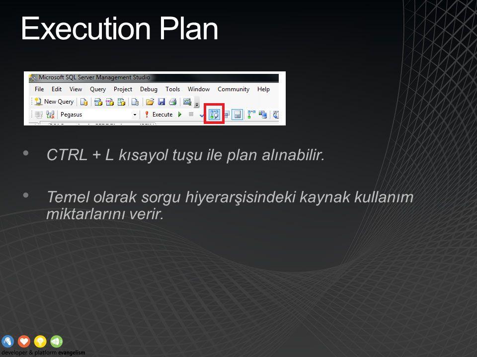 Execution Plan CTRL + L kısayol tuşu ile plan alınabilir. Temel olarak sorgu hiyerarşisindeki kaynak kullanım miktarlarını verir.