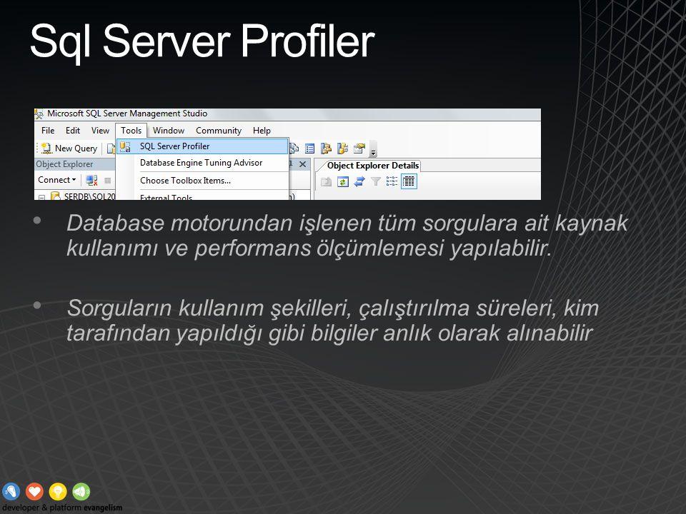 Sql Server Profiler Database motorundan işlenen tüm sorgulara ait kaynak kullanımı ve performans ölçümlemesi yapılabilir. Sorguların kullanım şekiller