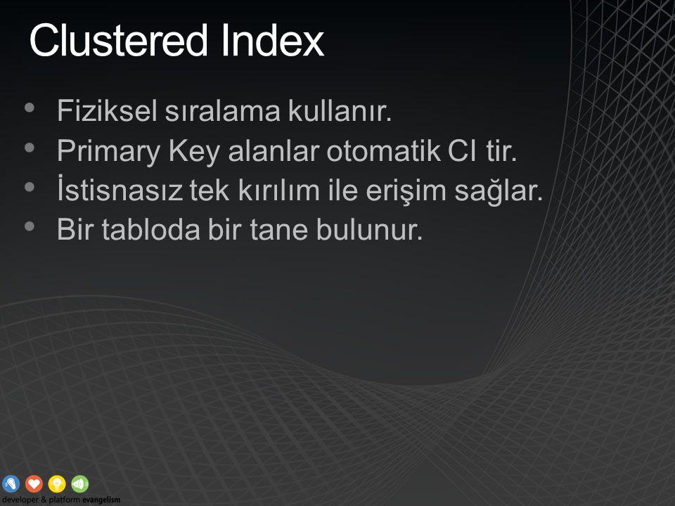Clustered Index Fiziksel sıralama kullanır. Primary Key alanlar otomatik CI tir. İstisnasız tek kırılım ile erişim sağlar. Bir tabloda bir tane bulunu