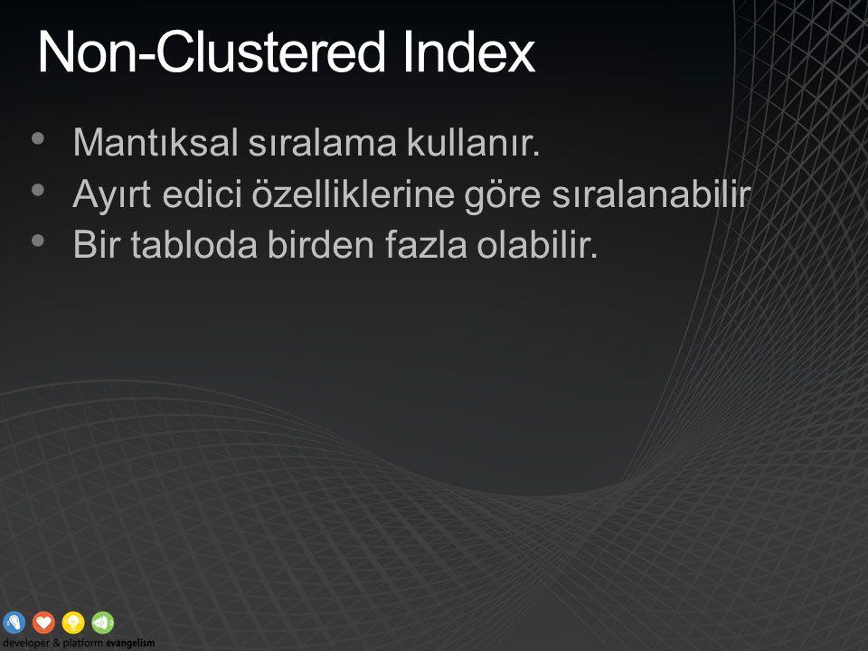 Non-Clustered Index Mantıksal sıralama kullanır. Ayırt edici özelliklerine göre sıralanabilir Bir tabloda birden fazla olabilir.