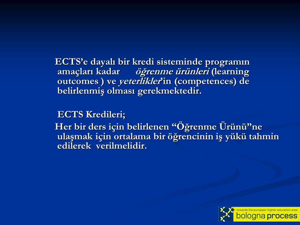 ECTS'e dayalı bir kredi sisteminde programın amaçları kadar öğrenme ürünleri (learning outcomes ) ve yeterlikler'in (competences) de belirlenmiş olmas
