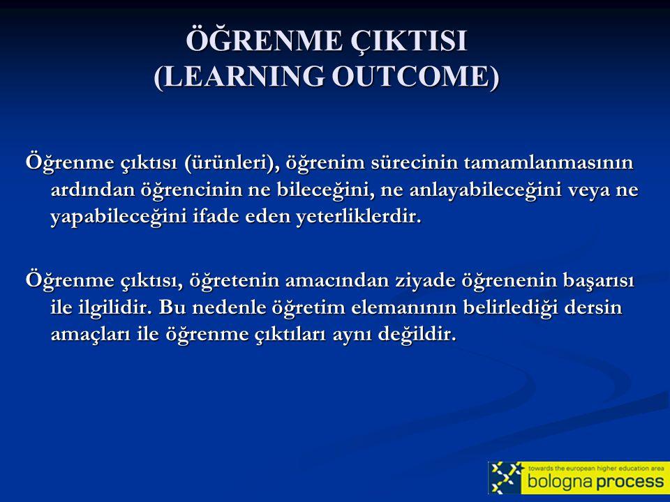 ÖĞRENME ÇIKTISI (LEARNING OUTCOME) Öğrenme çıktısı (ürünleri), öğrenim sürecinin tamamlanmasının ardından öğrencinin ne bileceğini, ne anlayabileceğin