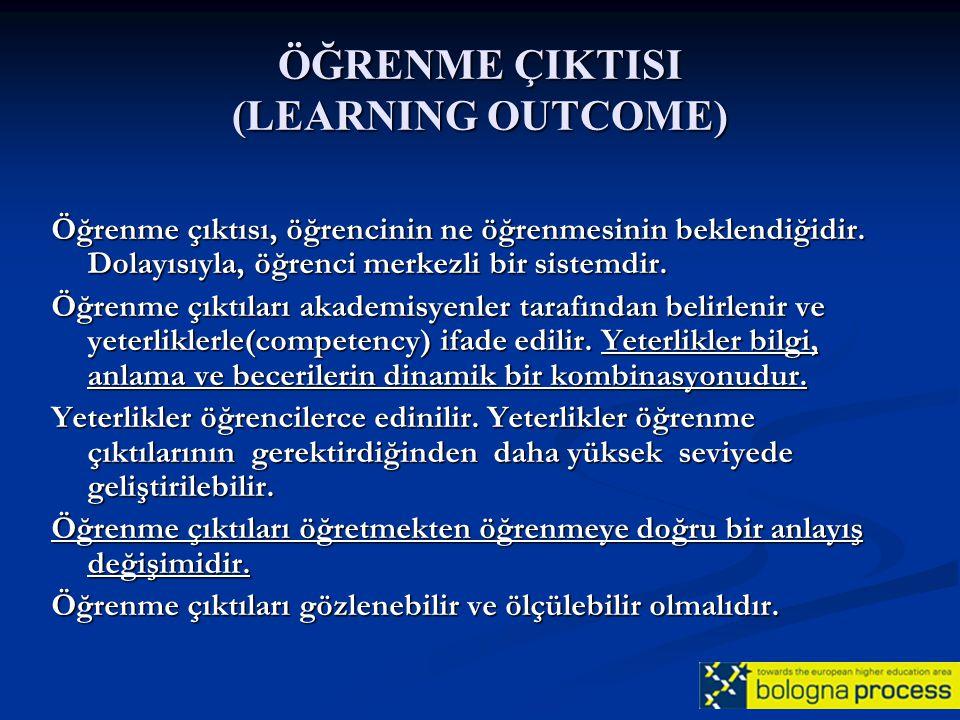 ÖĞRENME ÇIKTISI (LEARNING OUTCOME) Öğrenme çıktısı, öğrencinin ne öğrenmesinin beklendiğidir. Dolayısıyla, öğrenci merkezli bir sistemdir. Öğrenme çık