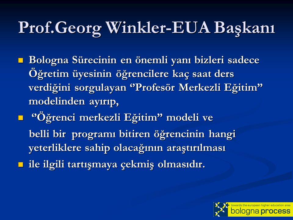 Prof.Georg Winkler-EUA Başkanı Bologna Sürecinin en önemli yanı bizleri sadece Öğretim üyesinin öğrencilere kaç saat ders verdiğini sorgulayan ''Profe