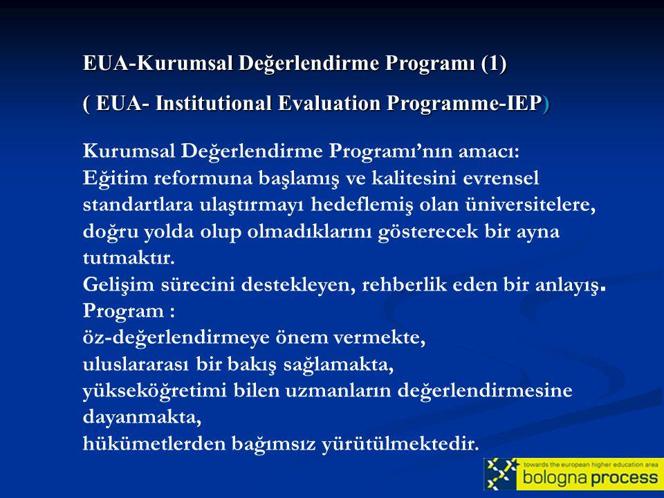 Kurumsal Değerlendirme Programı'nın amacı: Eğitim reformuna başlamış ve kalitesini evrensel standartlara ulaştırmayı hedeflemiş olan üniversitelere, d
