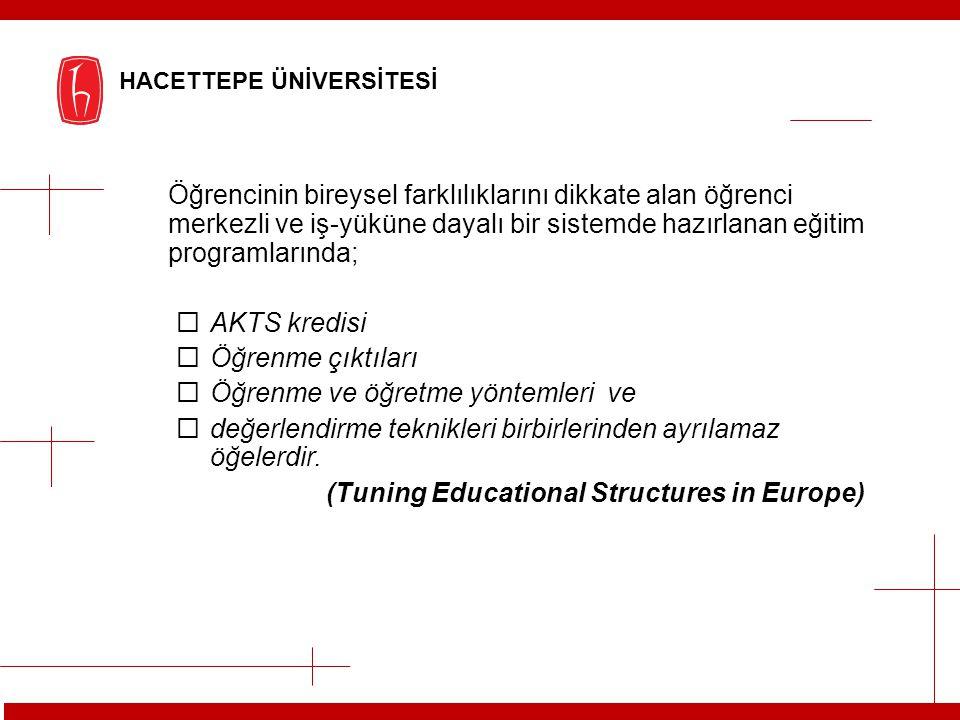 Öğrencinin bireysel farklılıklarını dikkate alan öğrenci merkezli ve iş-yüküne dayalı bir sistemde hazırlanan eğitim programlarında;  AKTS kredisi 