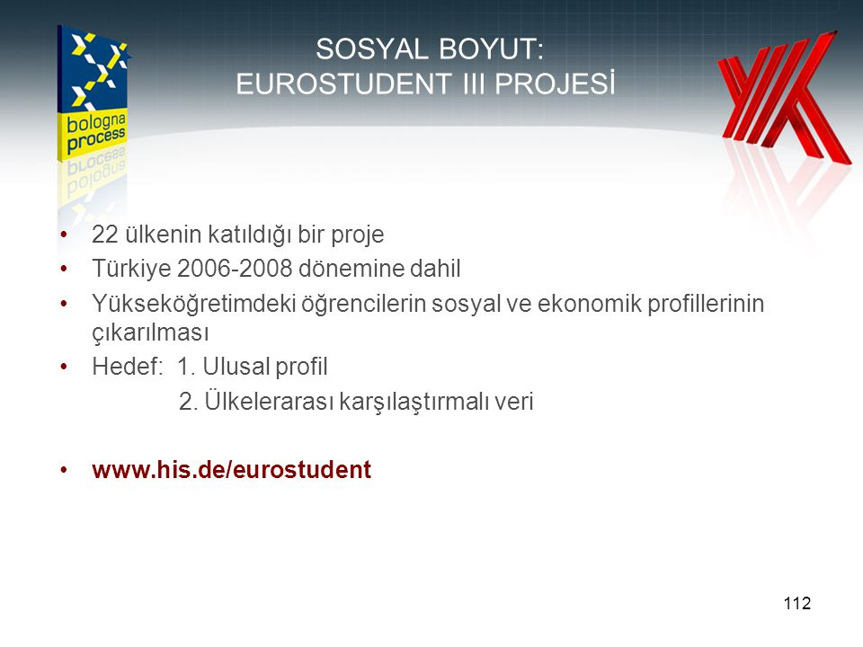 112 SOSYAL BOYUT: EUROSTUDENT III PROJESİ 22 ülkenin katıldığı bir proje Türkiye 2006-2008 dönemine dahil Yükseköğretimdeki öğrencilerin sosyal ve eko
