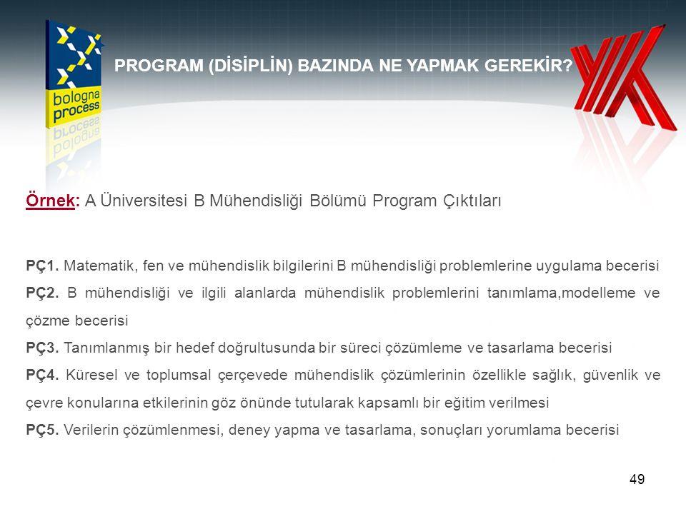 49 Örnek: A Üniversitesi B Mühendisliği Bölümü Program Çıktıları PÇ1. Matematik, fen ve mühendislik bilgilerini B mühendisliği problemlerine uygulama