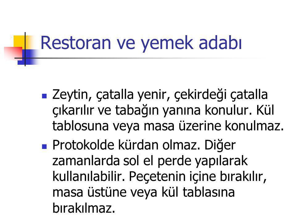 Restoran ve yemek adabı Zeytin, çatalla yenir, çekirdeği çatalla çıkarılır ve tabağın yanına konulur. Kül tablosuna veya masa üzerine konulmaz. Protok