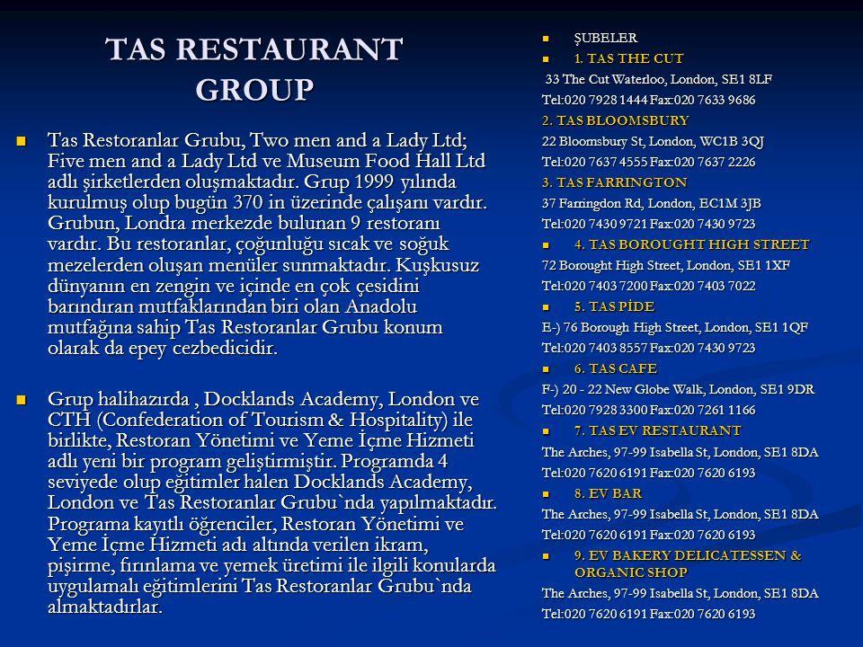 TAS RESTAURANT GROUP ŞUBELER 1. TAS THE CUT 33 The Cut Waterloo, London, SE1 8LF Tel:020 7928 1444 Fax:020 7633 9686 2. TAS BLOOMSBURY 22 Bloomsbury S