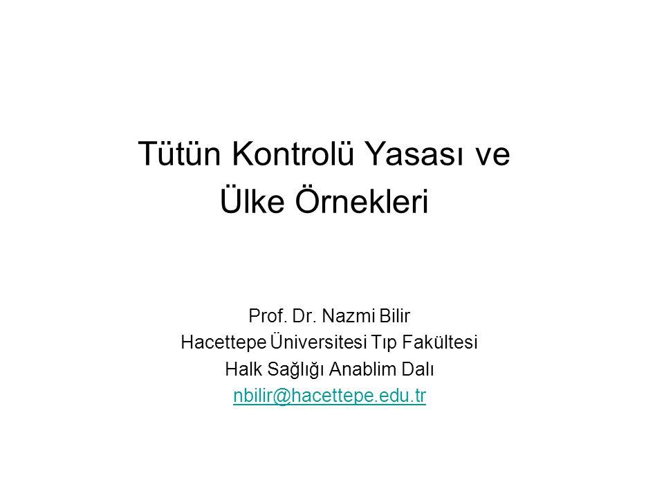 Tütün Kontrolü Yasası ve Ülke Örnekleri Prof.Dr.