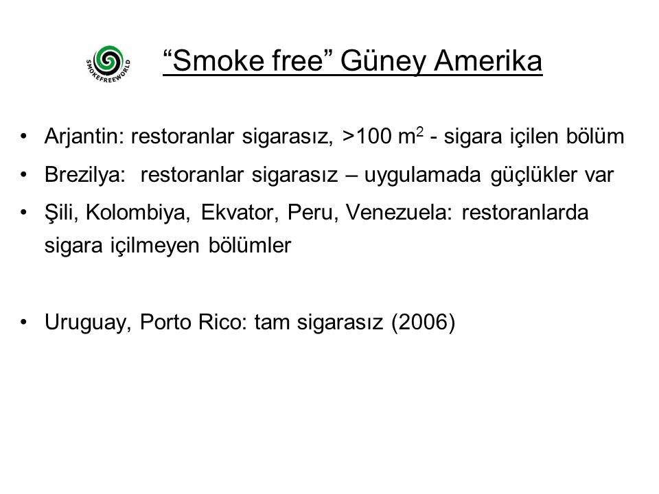 Smoke free Güney Amerika Arjantin: restoranlar sigarasız, >100 m 2 - sigara içilen bölüm Brezilya: restoranlar sigarasız – uygulamada güçlükler var Şili, Kolombiya, Ekvator, Peru, Venezuela: restoranlarda sigara içilmeyen bölümler Uruguay, Porto Rico: tam sigarasız (2006)