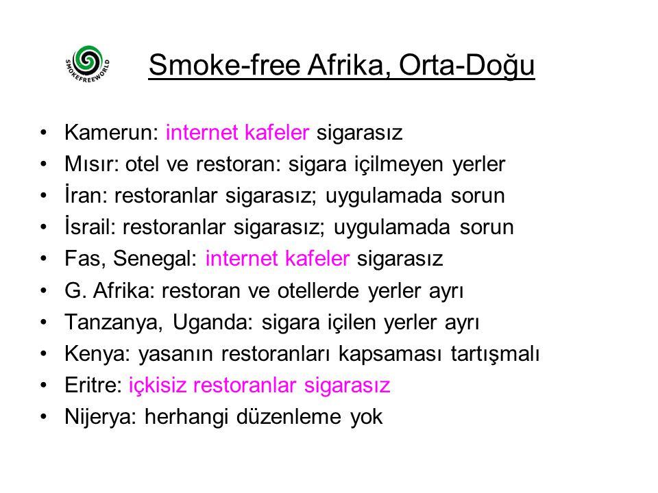 Smoke-free Afrika, Orta-Doğu Kamerun: internet kafeler sigarasız Mısır: otel ve restoran: sigara içilmeyen yerler İran: restoranlar sigarasız; uygulamada sorun İsrail: restoranlar sigarasız; uygulamada sorun Fas, Senegal: internet kafeler sigarasız G.