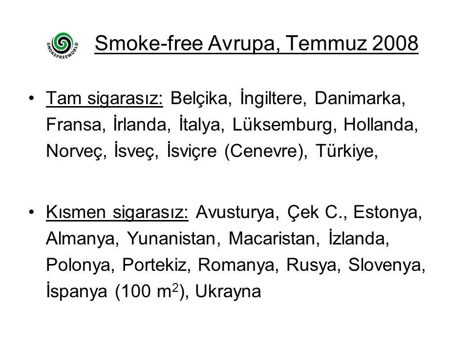 Smoke-free Avrupa, Temmuz 2008 Tam sigarasız: Belçika, İngiltere, Danimarka, Fransa, İrlanda, İtalya, Lüksemburg, Hollanda, Norveç, İsveç, İsviçre (Cenevre), Türkiye, Kısmen sigarasız: Avusturya, Çek C., Estonya, Almanya, Yunanistan, Macaristan, İzlanda, Polonya, Portekiz, Romanya, Rusya, Slovenya, İspanya (100 m 2 ), Ukrayna