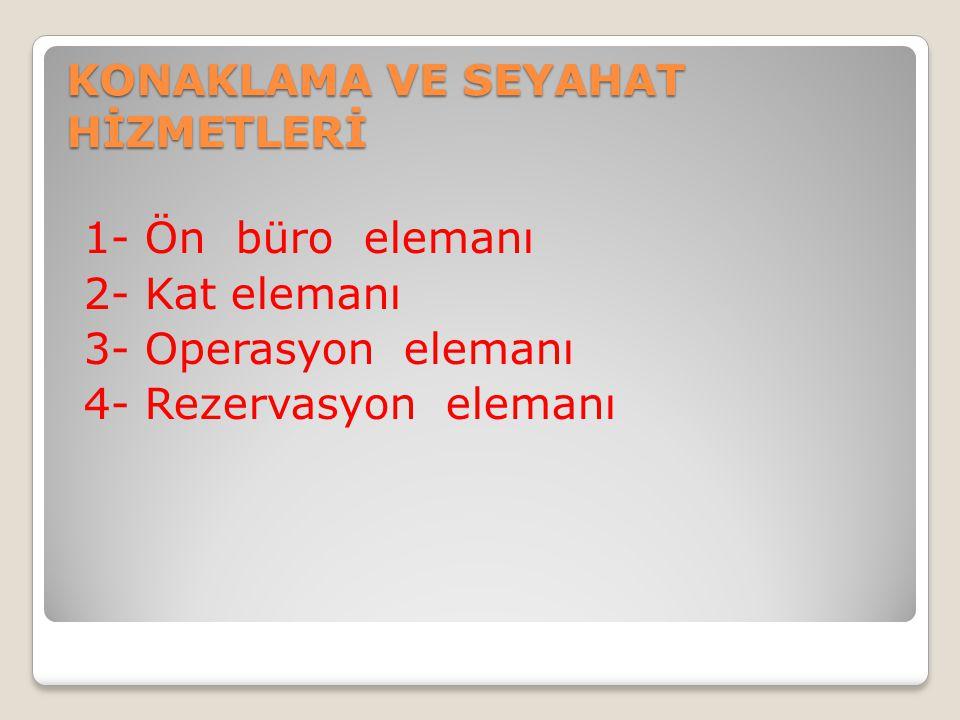 KONAKLAMA VE SEYAHAT HİZMETLERİ 1- Ön büro elemanı 2- Kat elemanı 3- Operasyon elemanı 4- Rezervasyon elemanı