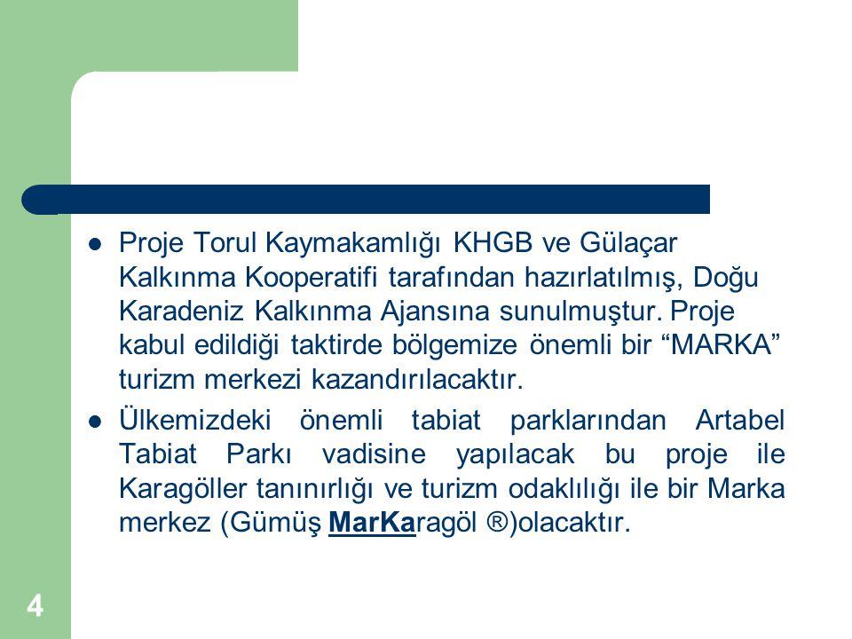 4 Proje Torul Kaymakamlığı KHGB ve Gülaçar Kalkınma Kooperatifi tarafından hazırlatılmış, Doğu Karadeniz Kalkınma Ajansına sunulmuştur.