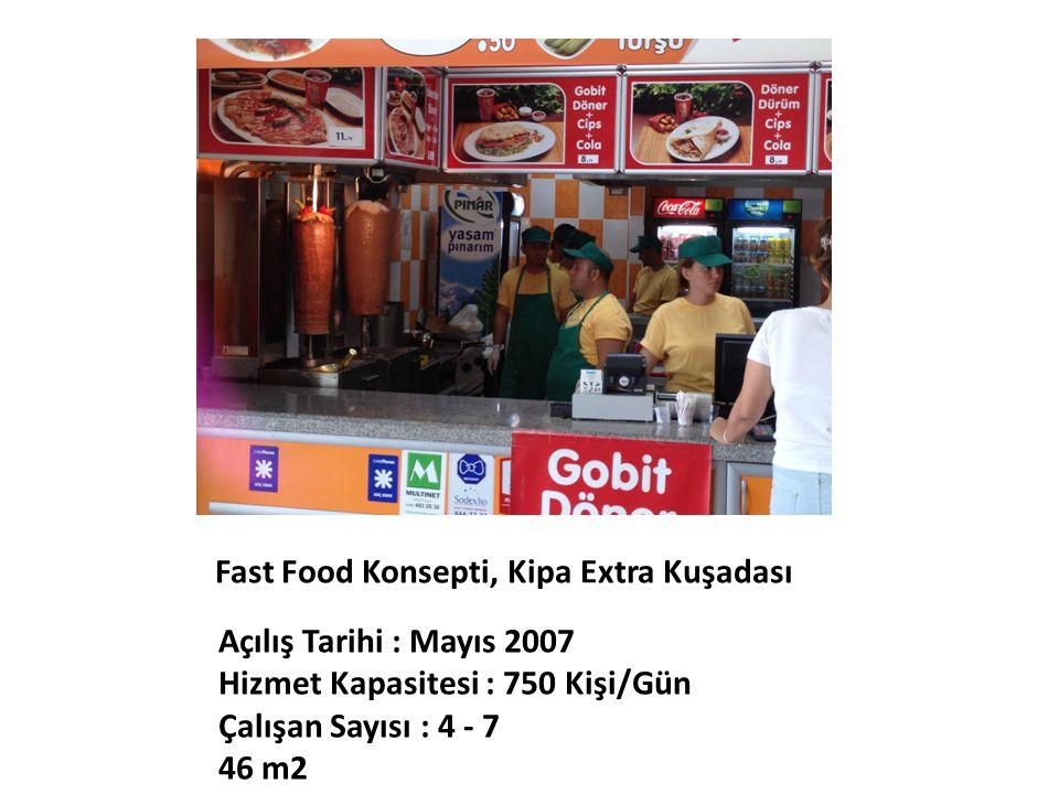 Fast Food Konsepti, Kipa Extra Kuşadası Açılış Tarihi : Mayıs 2007 Hizmet Kapasitesi : 750 Kişi/Gün Çalışan Sayısı : 4 - 7 46 m2