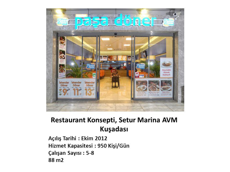 Restaurant Konsepti, Setur Marina AVM Kuşadası Açılış Tarihi : Ekim 2012 Hizmet Kapasitesi : 950 Kişi/Gün Çalışan Sayısı : 5-8 88 m2