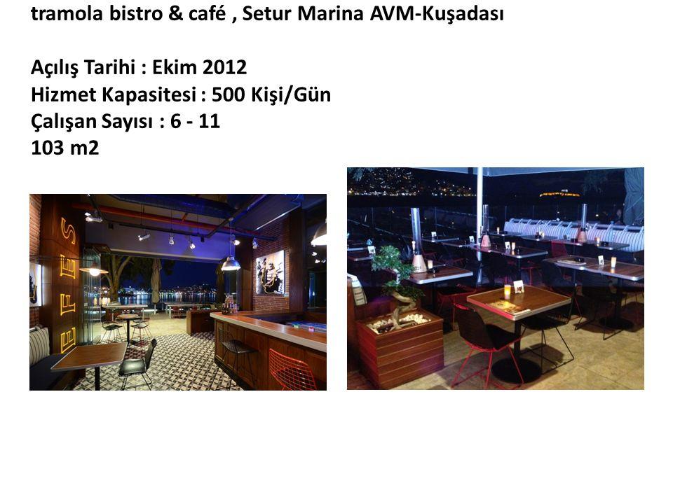 tramola bistro & café, Setur Marina AVM-Kuşadası Açılış Tarihi : Ekim 2012 Hizmet Kapasitesi : 500 Kişi/Gün Çalışan Sayısı : 6 - 11 103 m2