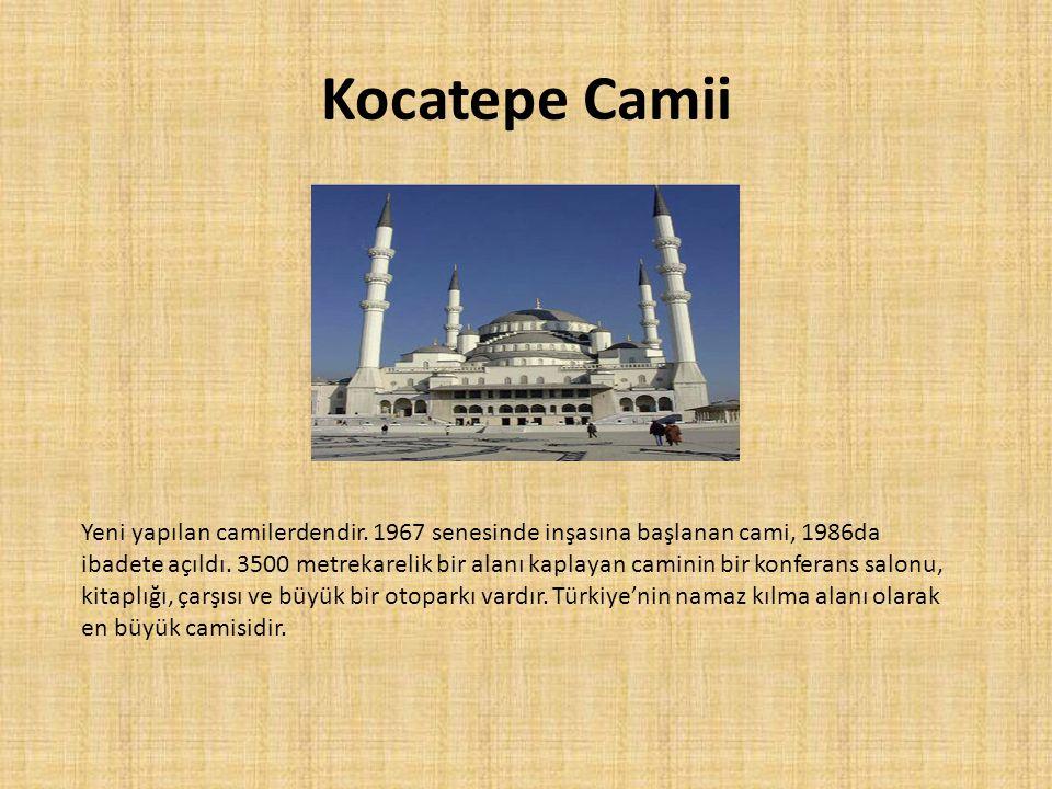 Kocatepe Camii Yeni yapılan camilerdendir. 1967 senesinde inşasına başlanan cami, 1986da ibadete açıldı. 3500 metrekarelik bir alanı kaplayan caminin