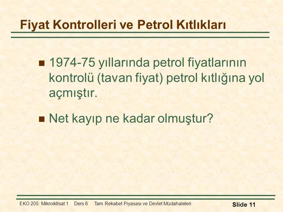 EKO 205: Mikroiktisat 1 Ders 6 Tam Rekabet Piyasası ve Devlet Müdahaleleri Slide 11 Fiyat Kontrolleri ve Petrol Kıtlıkları 1974-75 yıllarında petrol f