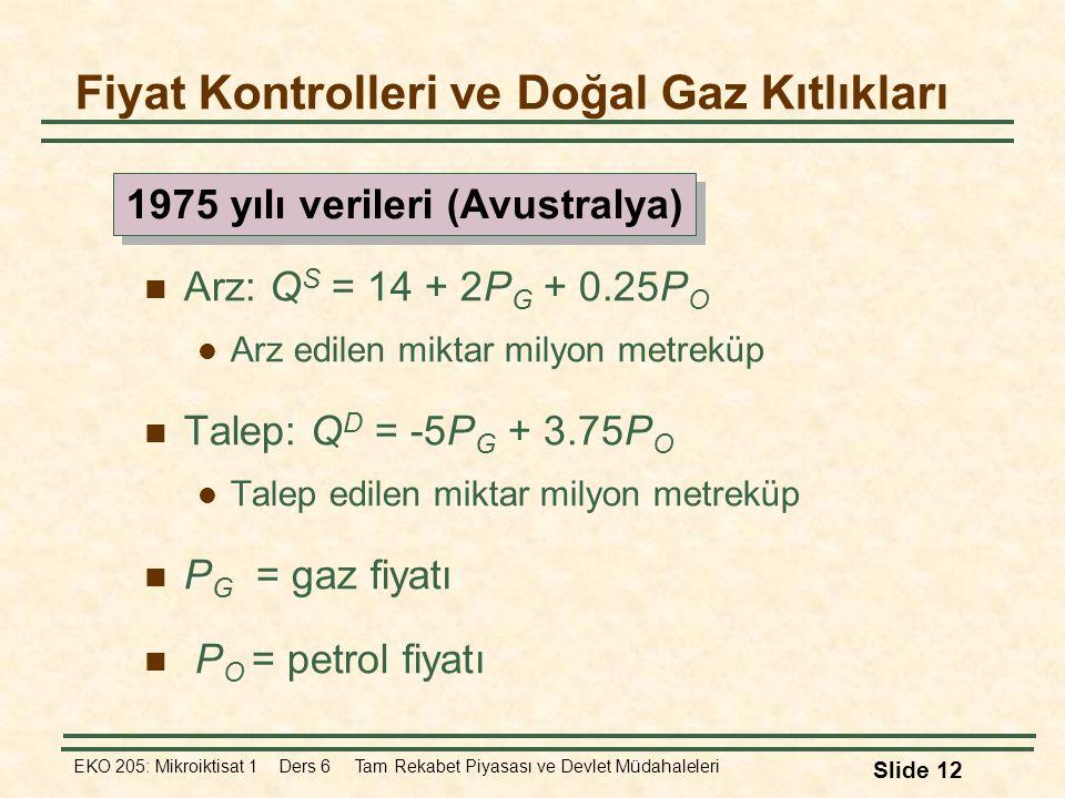 EKO 205: Mikroiktisat 1 Ders 6 Tam Rekabet Piyasası ve Devlet Müdahaleleri Slide 12 Arz: Q S = 14 + 2P G + 0.25P O Arz edilen miktar milyon metreküp T