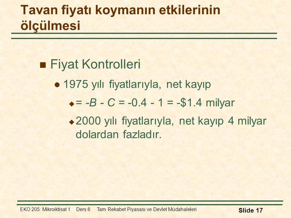 EKO 205: Mikroiktisat 1 Ders 6 Tam Rekabet Piyasası ve Devlet Müdahaleleri Slide 17 Fiyat Kontrolleri 1975 yılı fiyatlarıyla, net kayıp  = -B - C = -