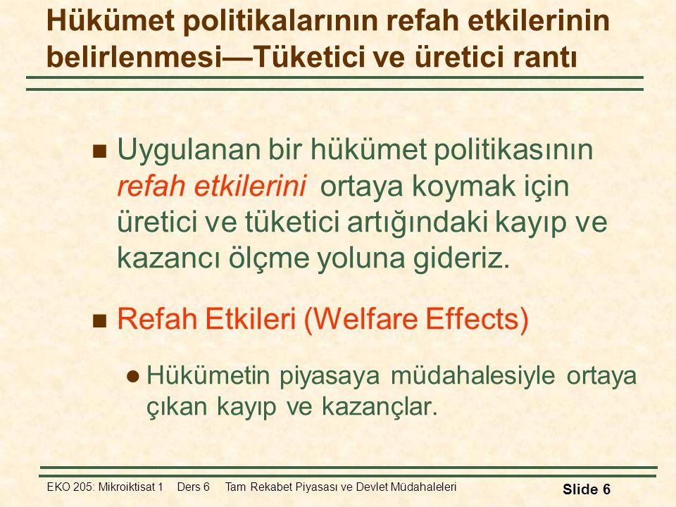 EKO 205: Mikroiktisat 1 Ders 6 Tam Rekabet Piyasası ve Devlet Müdahaleleri Slide 57 Soru: Türkiye tarif yerine ithalat kotası uygulayarak refah düzeyini arttırabilir mi.