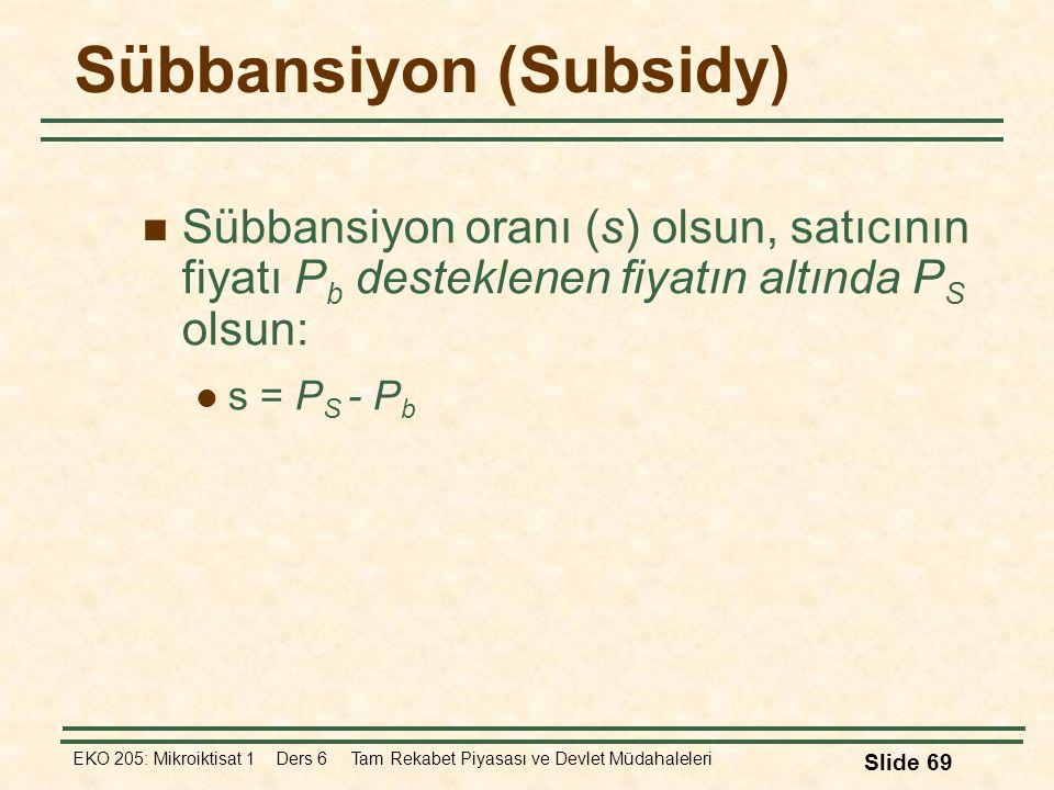 EKO 205: Mikroiktisat 1 Ders 6 Tam Rekabet Piyasası ve Devlet Müdahaleleri Slide 69 Sübbansiyon (Subsidy) Sübbansiyon oranı (s) olsun, satıcının fiyat