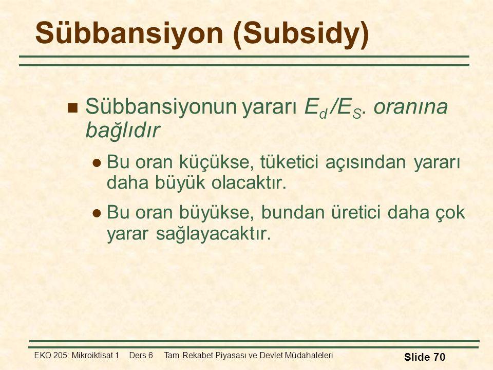 EKO 205: Mikroiktisat 1 Ders 6 Tam Rekabet Piyasası ve Devlet Müdahaleleri Slide 70 Sübbansiyon (Subsidy) Sübbansiyonun yararı E d /E S. oranına bağlı