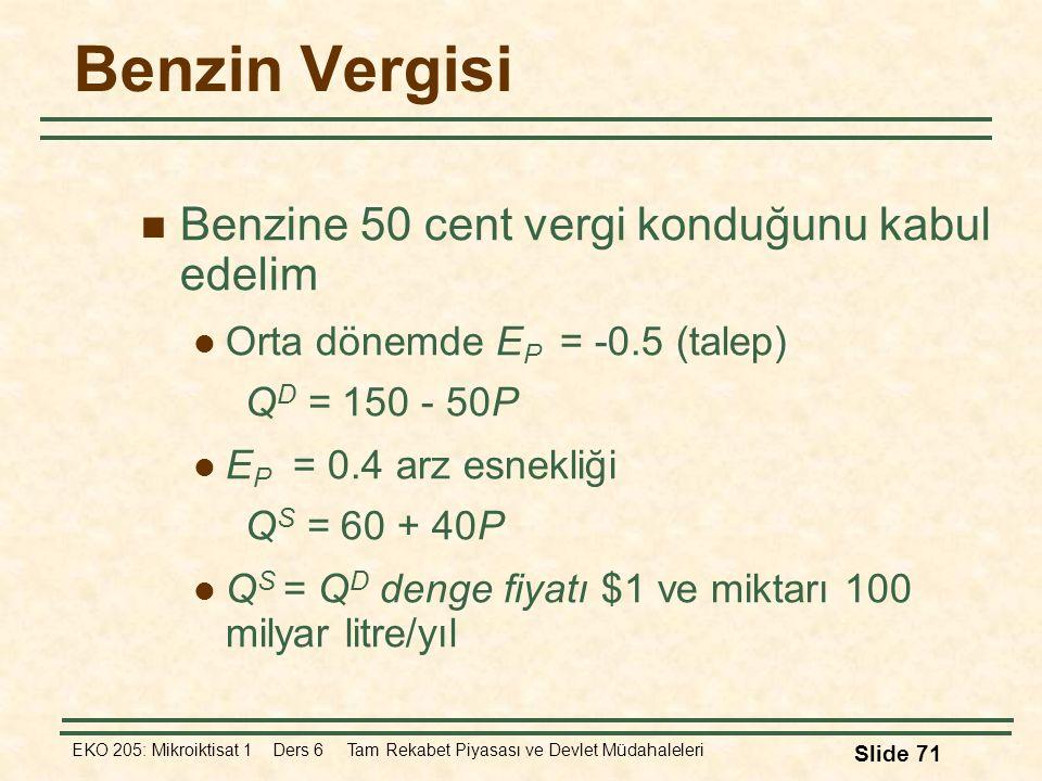 EKO 205: Mikroiktisat 1 Ders 6 Tam Rekabet Piyasası ve Devlet Müdahaleleri Slide 71 Benzin Vergisi Benzine 50 cent vergi konduğunu kabul edelim Orta d